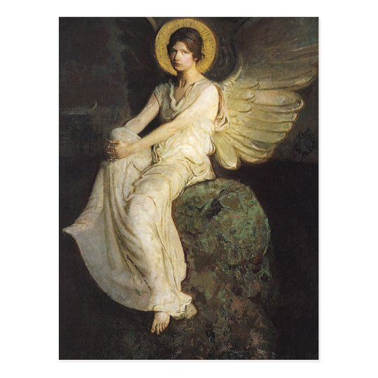 Winged Figure Seated Upon a Rock by Abbott Thayer Postcard