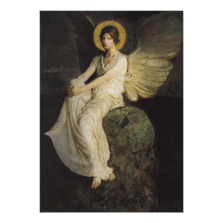 Winged Figure Seated Upon a Rock by Abbott Thayer Posters