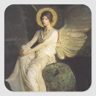Winged Figure Seated Upon a Rock by Abbott Thayer Square Sticker