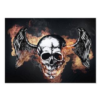 Winged Flaming Skull Card