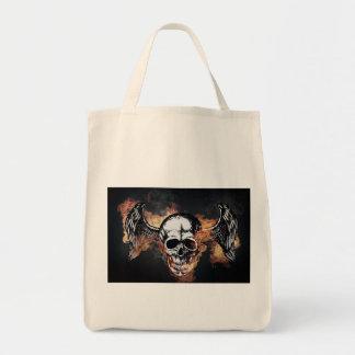 Winged Flaming Skull Tote Bag