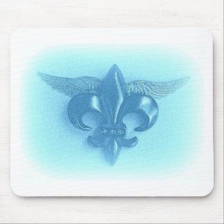 WINGED FLEUR DE LIS BLUE 2500 PRINT MOUSE PAD