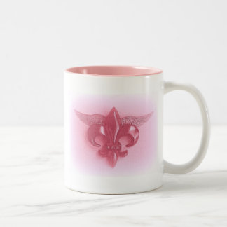 WINGED FLEUR DE LIS PINK 2500 PRINT Two-Tone COFFEE MUG