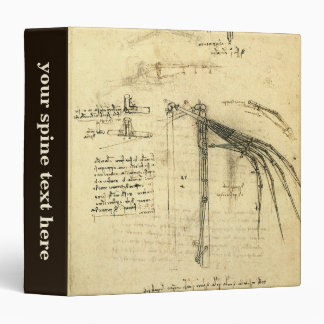 Winged Flying Machine Sketch by Leonardo da Vinci 3 Ring Binder