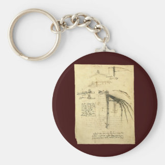 Winged Flying Machine Sketch by Leonardo da Vinci Basic Round Button Keychain