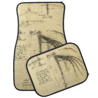 Winged Flying Machine Sketch by Leonardo da Vinci Car Floor Mat