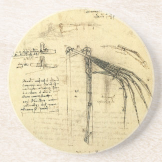 Winged Flying Machine Sketch by Leonardo da Vinci Drink Coaster