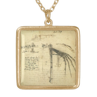 Winged Flying Machine Sketch by Leonardo da Vinci Gold Plated Necklace
