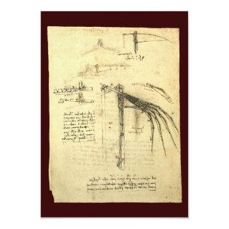 Winged Flying Machine Sketch by Leonardo da Vinci Personalized Invitations