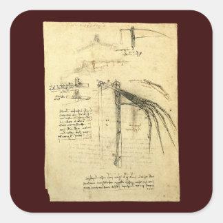 Winged Flying Machine Sketch by Leonardo da Vinci Square Sticker