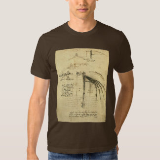 Winged Flying Machine Sketch by Leonardo da Vinci Tee Shirt