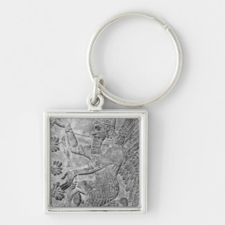 Winged Genie Worshipping the Sacred Tree Silver-Colored Square Keychain