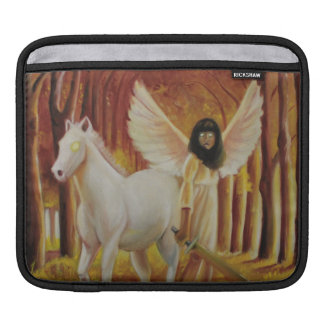 Winged Girl with White Horse Oil Painting Sleeves For iPads