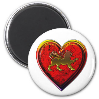 Winged Golden Lion Heart Rounded Edit 2 Inch Round Magnet