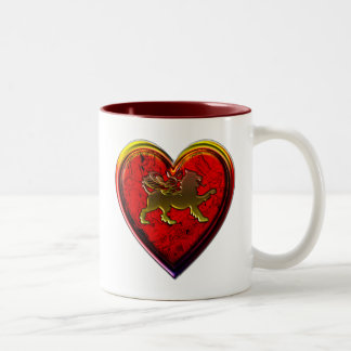Winged Golden Lion Heart Rounded Edit Two-Tone Coffee Mug