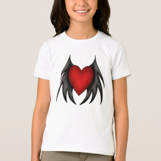 Winged Gothic heart kids t shirt