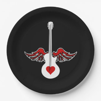 Winged Guitar Paper Plate
