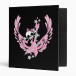 Winged Guitar with Cute Skull 3 Ring Binders