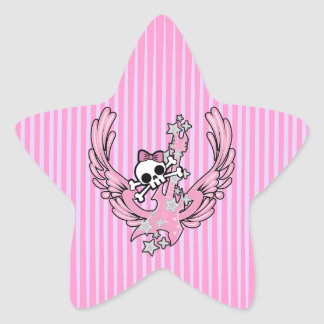 Winged Guitar with Cute Skull Star Sticker