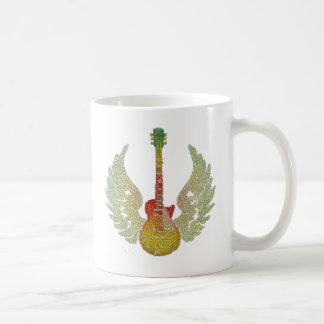 WInged Guitar Words Coffee Mug