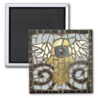 Winged Hamsa Gold with Blue Eye 2 Inch Square Magnet