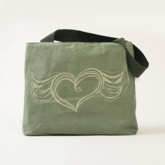 Winged Heart Canvas Utility Tote