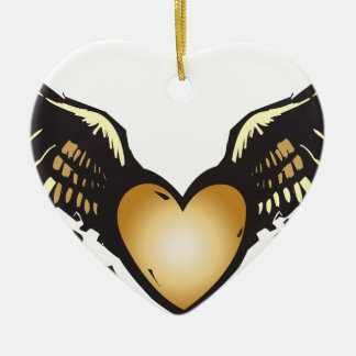 Winged Heart Ceramic Ornament