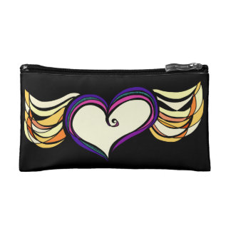 Winged Heart Cosmetic Bag (black)