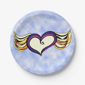 "Winged Heart Custom Paper Plates 7"""