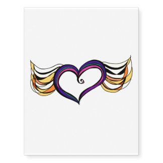 Winged Heart Custom Temporary Tattoos