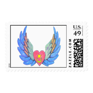 Winged Heart fixed Postage Stamp