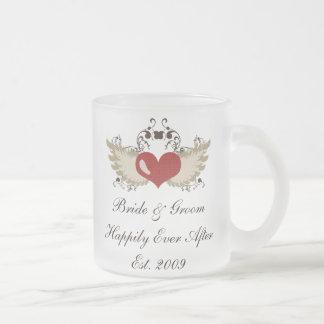 Winged Heart Happily Ever After Custom Wedding Mug
