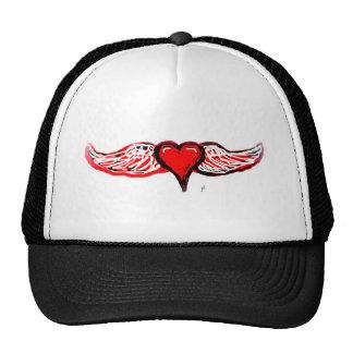 WINGED HEART IN RED by jill Trucker Hat