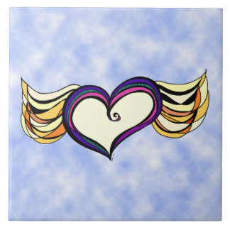Winged Heart in the Clouds Large Art Tile