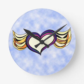 Winged Heart in the Clouds Wall Clock