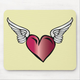 Winged Heart - Love Romance Wings Mouse Pad