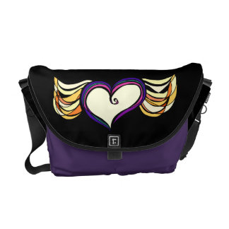 Winged Heart Medium Messenger Bag (dark)