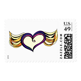Winged Heart Medium Postage Stamps