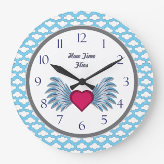 Winged Heart Motif in the Clouds Time Flies Large Clock