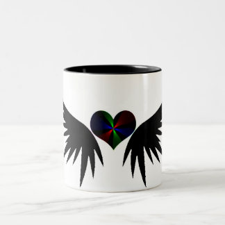 winged heart neon glow coffee mug
