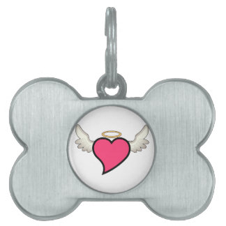 Winged Heart Pet Name Tag
