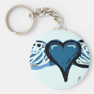 WINGED HEART PRINT IN BLUE by jill Keychain