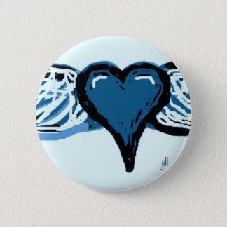 WINGED HEART PRINT IN BLUE by jill Pinback Button