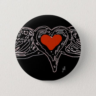 WINGED HEART RED ON WHITE by jill Pinback Button