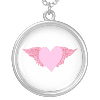 Winged Heart Round Pendant Necklace