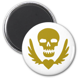 Winged-Heart-Skull.png 2 Inch Round Magnet