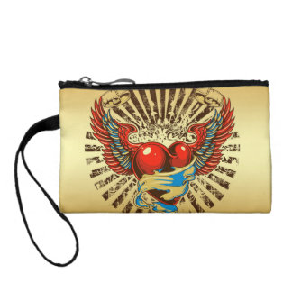 Winged heart tattoo coin purse