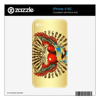 Winged heart tattoo decals for iPhone 4S