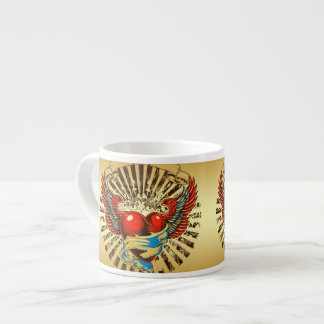 Winged heart tattoo espresso cup