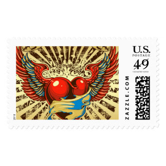 Winged heart tattoo postage